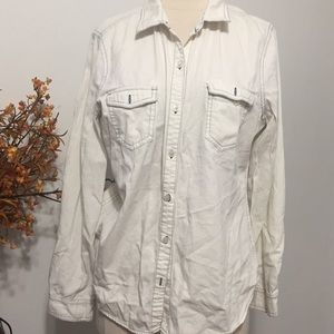 ⭐️Old Navy White Jean Button Down Large Shirt⭐️